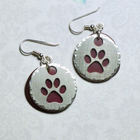 Paw Print Cutout Round Washer and Tagua Nut Slice Earrings