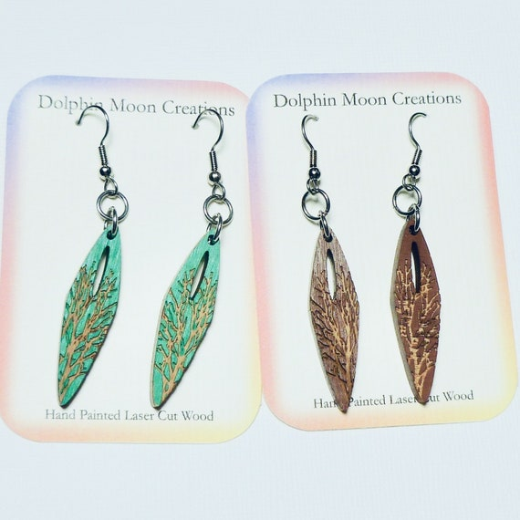 Hand Painted Laser Cut Wood Etched Tree Design Earrings