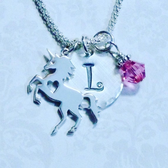 Unicorn Lover Hand Stamped Sterling Silver Initial Charm Necklace