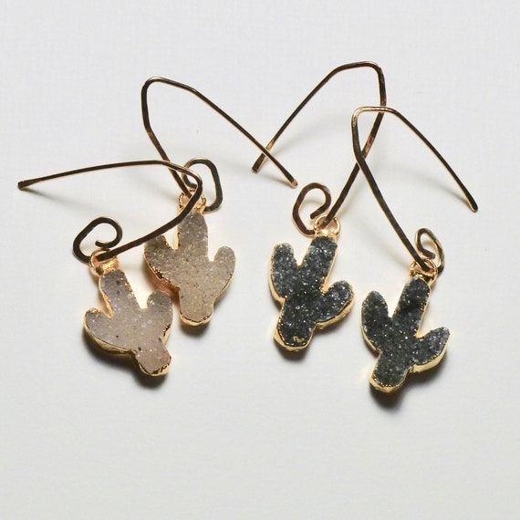 Southwestern Natural Druzy Quartz Cactus Earrings