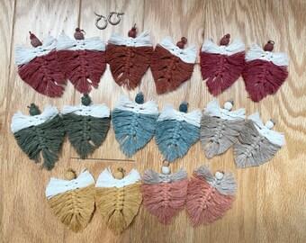 Autumn Macrame Feather Essential Oil Diffuser Hoop Earrings