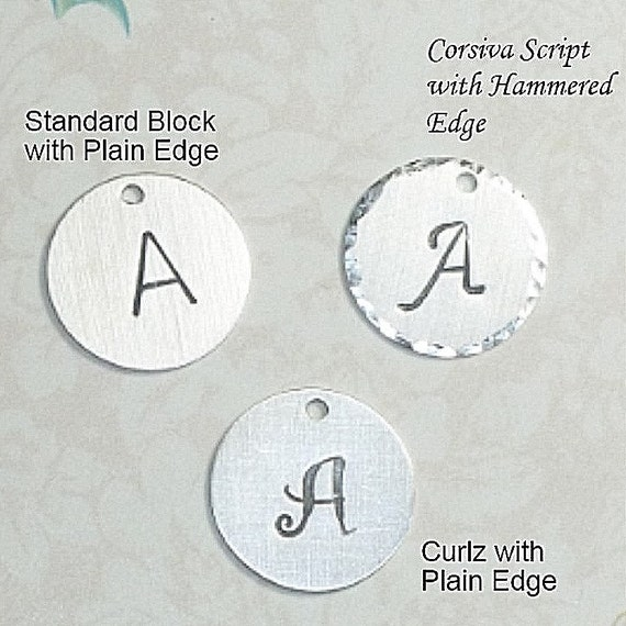 "Add a Hand Stamped Sterling Silver 5/8"" Circle Initial Charm"