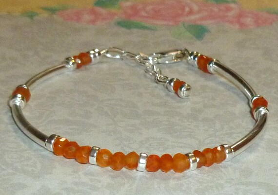 Orange Carnelian Sterling Silver Curved Tube Beaded Adjustable Stacking Bracelet