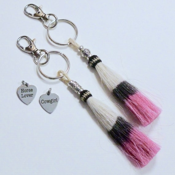 Cowgirl Beaded Pink Horse Hair Tassel Keychain, Horse Lover Tassel Purse Charm, Equestrian Gifts