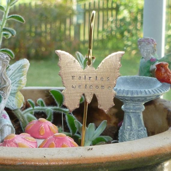 Hand Stamped Fairies Welcome Brass Butterfly Fairy Garden Sign with Miniature Brass Shepherds Hook