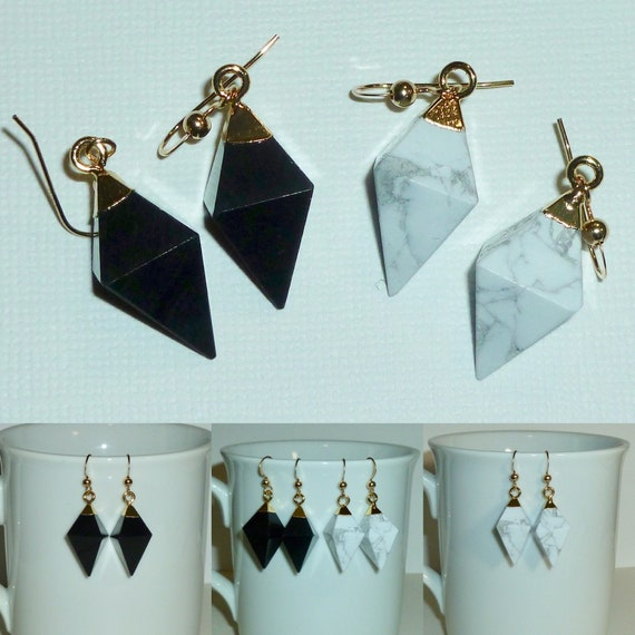 Black Onyx or White Howlite Gemstone Diamond Shaped Earrings