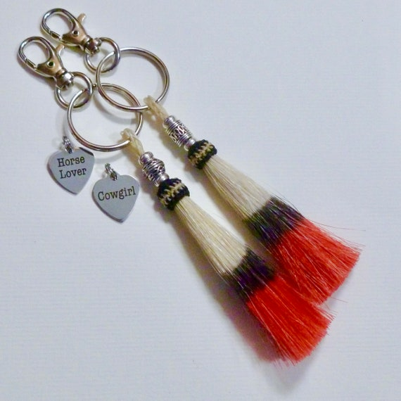 Personalized Equestrian Cowgirl Beaded Red Horse Hair Tassel Keychain