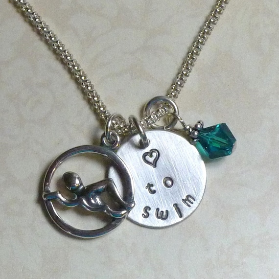 Swimmers Love to Swim Hand Stamped Sterling Silver Charm and Birthstone Necklace