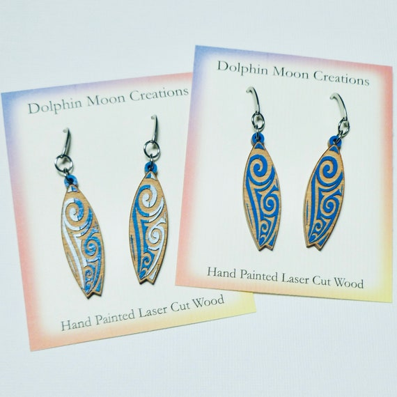 Hand Painted Laser Etched Wood Surfboard Earrings
