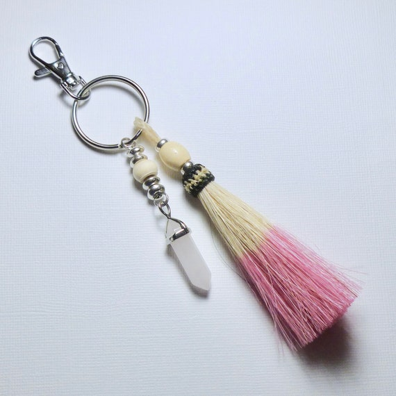 Equestrian Beaded Rose Quartz Crystal Point Pink Horse Hair Tassel Keychain