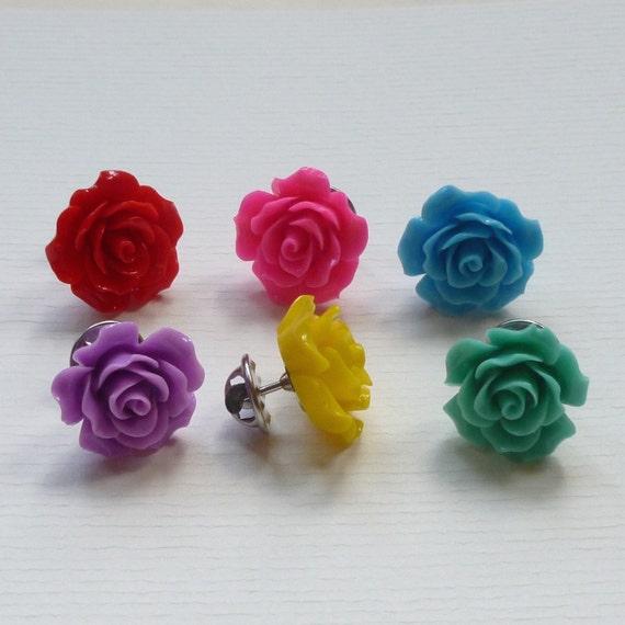 Rose Flower Lapel Pin Tie Tacks - Set of 6