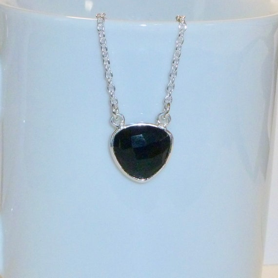 Trillion Shaped Natural Black Onyx Gemstone Pendant Necklace
