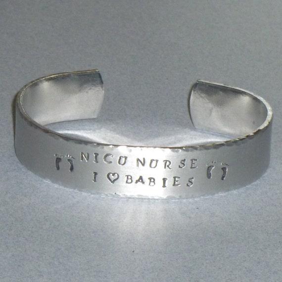 NICU Nurse Hand Stamped Aluminum Cuff Bracelet