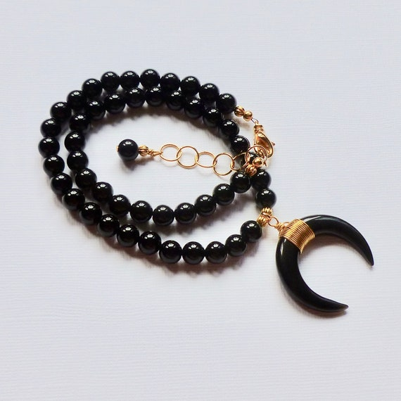 Beaded Black Agate Gemstone Crescent Choker Necklace