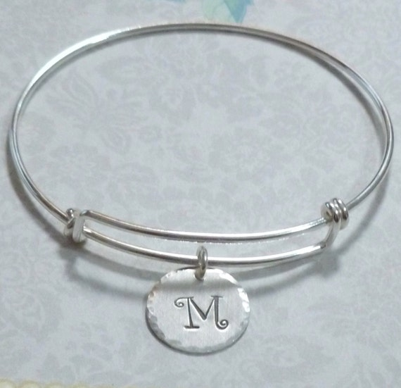 Sterling Silver Personalized Adjustable Expandable Wire Initial Charm Bangle Bracelet