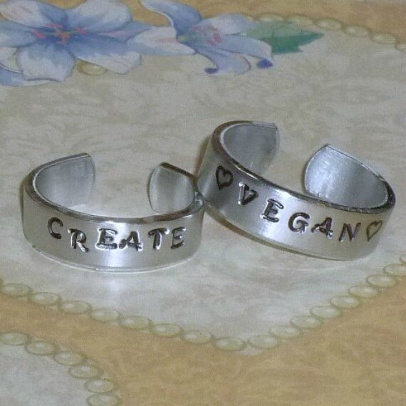 Personalized Hand Stamped Thin Aluminum Band Ring