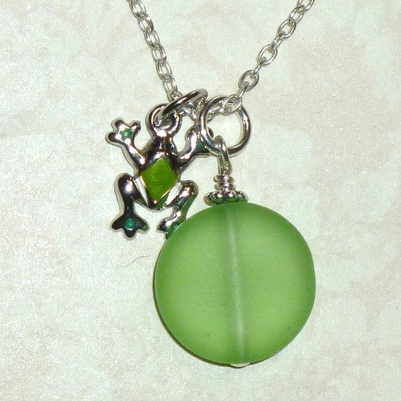Frog with Green Recycled Sea Glass Dangle Sterling Silver Charm Necklace