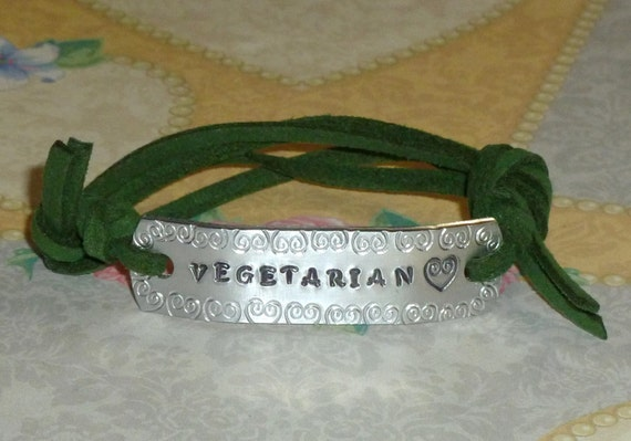 Vegetarian Love Hand Stamped Aluminum and Faux Suede ID Bracelet