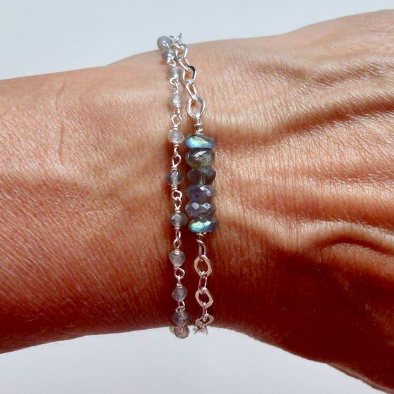 Sterling Silver Double Strand Labradorite Gemstone Tassel Bracelet