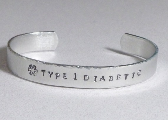 Type 1 Diabetic Medical Alert Hand Stamped Cuff Bracelet
