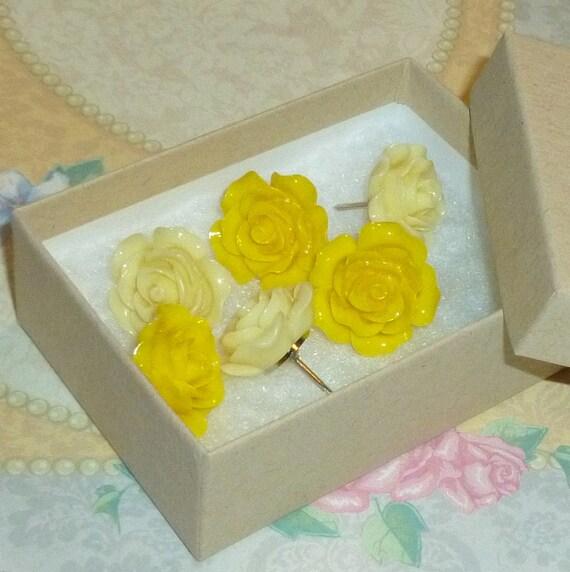 Shades of Yellow Decorative Resin Rose Flower Cabochon Push Pin Tacks - Set of 6