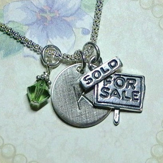 Personalized Realtor Hand Stamped Sterling Silver Initial Charm Necklace