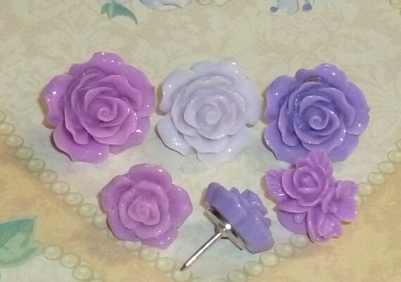 Shades of Purple Lavender Flower Decorative Resin Rose Flower Cabochons Push Pin Thumb Tacks - Set of 6