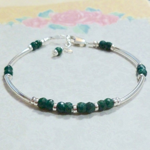 Beaded Emerald Gemstone Rondelle and Sterling Silver Curved Tube Bracelet