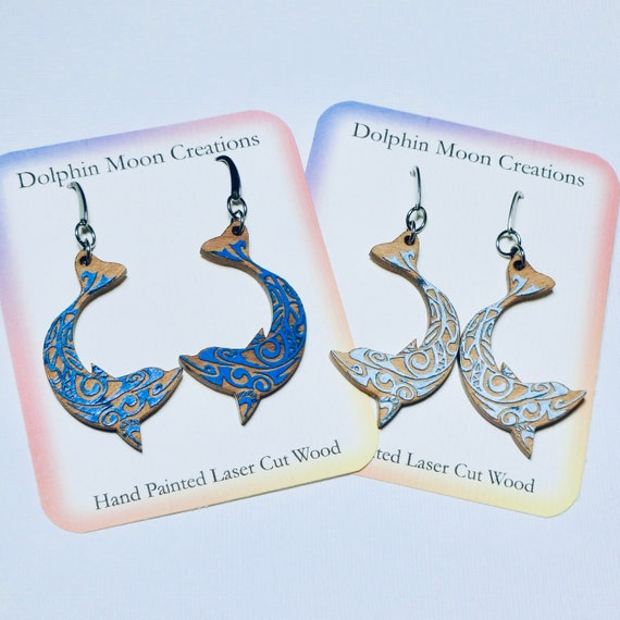 Hand Painted Laser Cut Wooden Dolphin Earrings