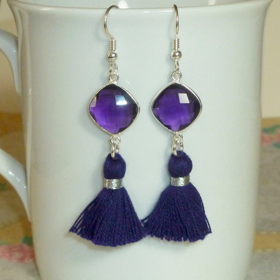 Purple Hydro Amethyst Quartz Tassel Earrings