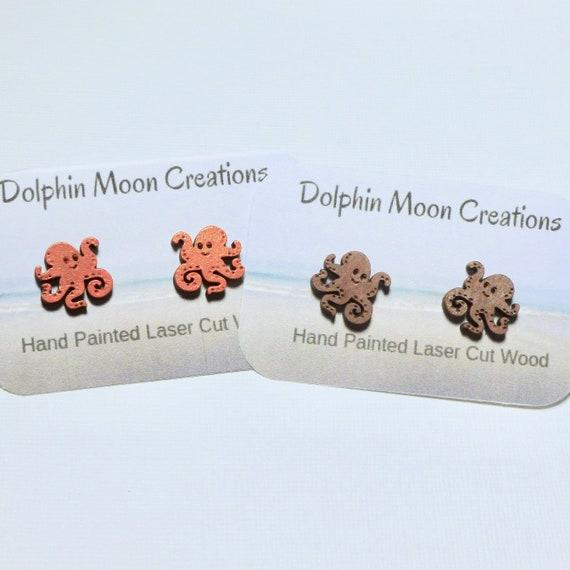Hand Painted Laser Cut Wooden Octopus Stud Earrings