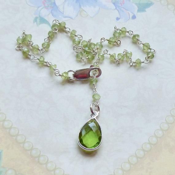 Peridot Gemstone Sterling Silver Rosary Chain Ankle Bracelet