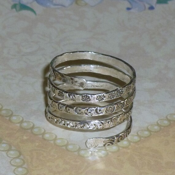 Hand Stamped Fine Silver Spiral Twist Wrap Ring
