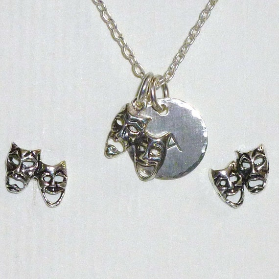 Comedy Tragedy Drama Mask Hand Stamped Sterling Silver Initial Charm Necklace and Post Earring Jewelry Set
