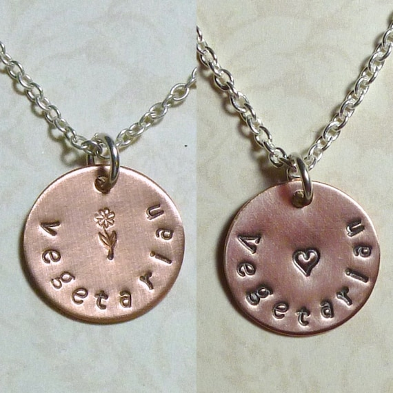 Vegetarian Hand Stamped Copper and Sterling Silver Necklace
