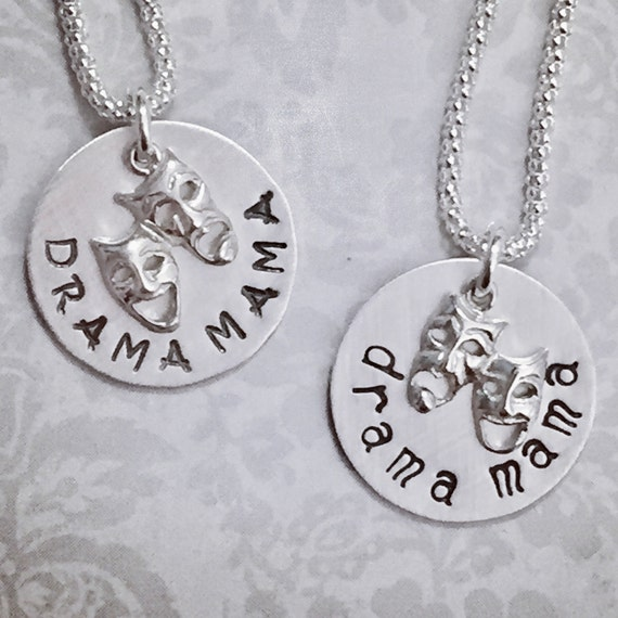 Drama Mama Comedy Tragedy Mask Hand Stamped Sterling Silver Charm Necklace