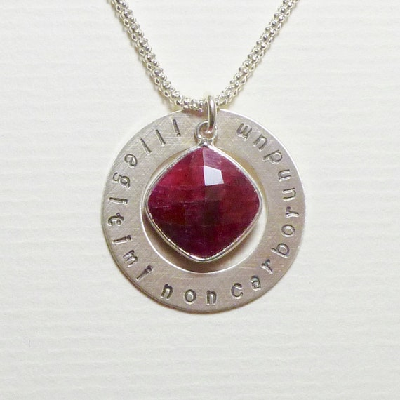 Illegitimi Non Carborundum Latin Phrase Don't Let The Bastards Grind You Down Sterling Silver Washer Necklace with Ruby Red Gemstone