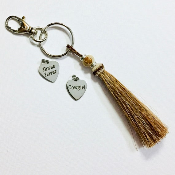 Cowgirl Beaded Sorrel Brown Horse Hair Tassel Jasper Gemstone Keychain