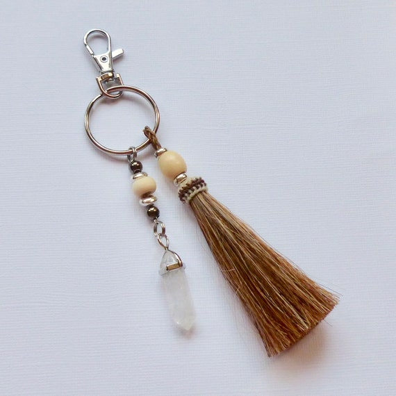 Equestrian Beaded Crystal Quartz Point Sorrel Brown Horse Hair Tassel Keychain