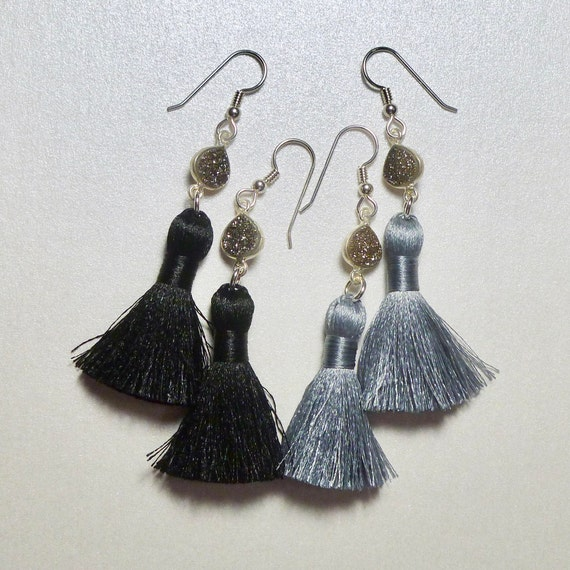 Black Diamond Druzy Short Silky Tassel Earrings - You Choose Black or Gray
