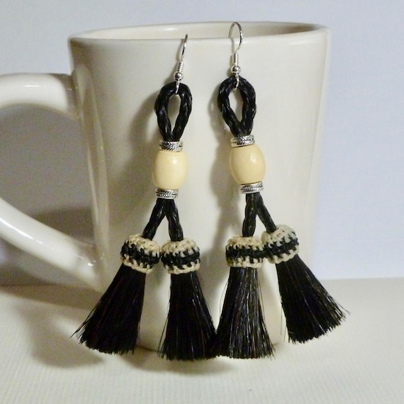 Equestrian Black and White Double Horse Hair Tassel Earrings