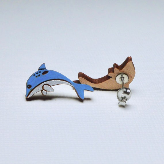 Hand Painted Laser Cut Wooden Dolphin Stud Earrings