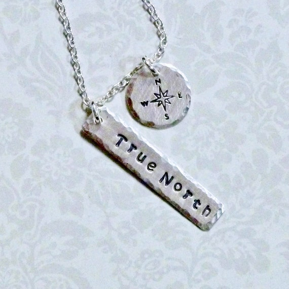 True North Compass Hand Stamped Sterling Silver Wanderlust Charm Necklace