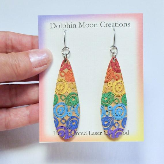 Hand Painted Laser Cut Wooden Long Teardrop Rainbow Swirl Earrings