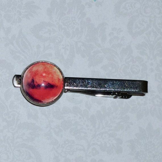 Planet Mars Celestial Gunmetal Tie Bar Tie Clip