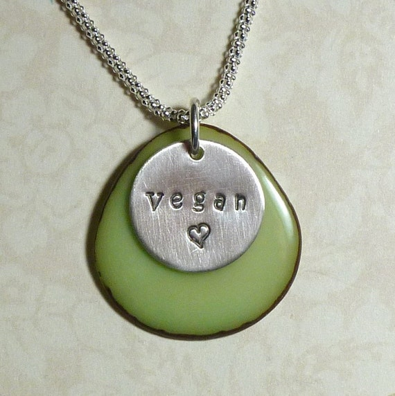 Vegan Love Tagua Nut Hand Stamped Sterling Silver Charm Necklace