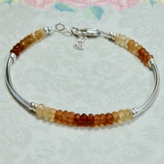 Natural Ombre Shaded Hessonite Rondelle Gemstone Sterling Silver Curved Tube Bracelet