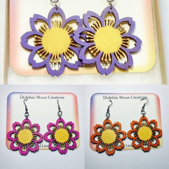 Flower Earrings, Lightweight Hand Painted Laser Cut Wood Flower Circle Earrings