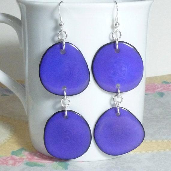 Purple Tagua Nut Slice Hanging Sterling Silver Earrings