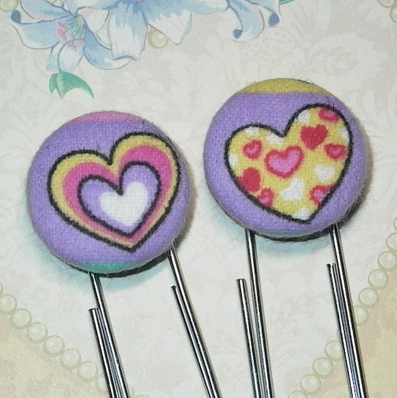 Heart Planner Clips, Purple Heart Fabric Covered Button Planner Paper Clip or Bookmark Set